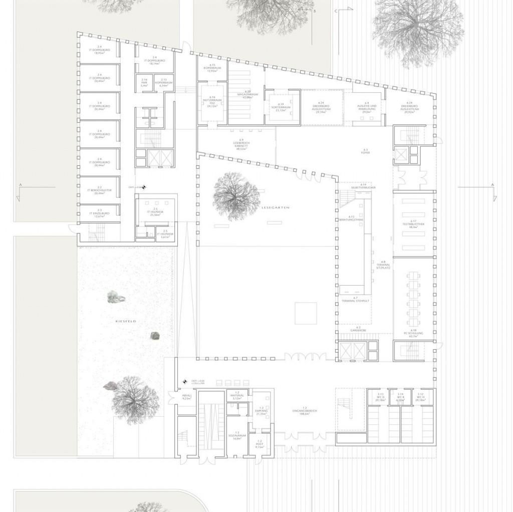Herbert Hussmann Architekten Deutsches Institut für Internationale Pädagogische Forschung DIPF Grundriss EG