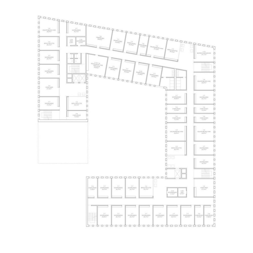 Herbert Hussmann Architekten Deutsches Institut für Internationale Pädagogische Forschung DIPF Grundriss OG