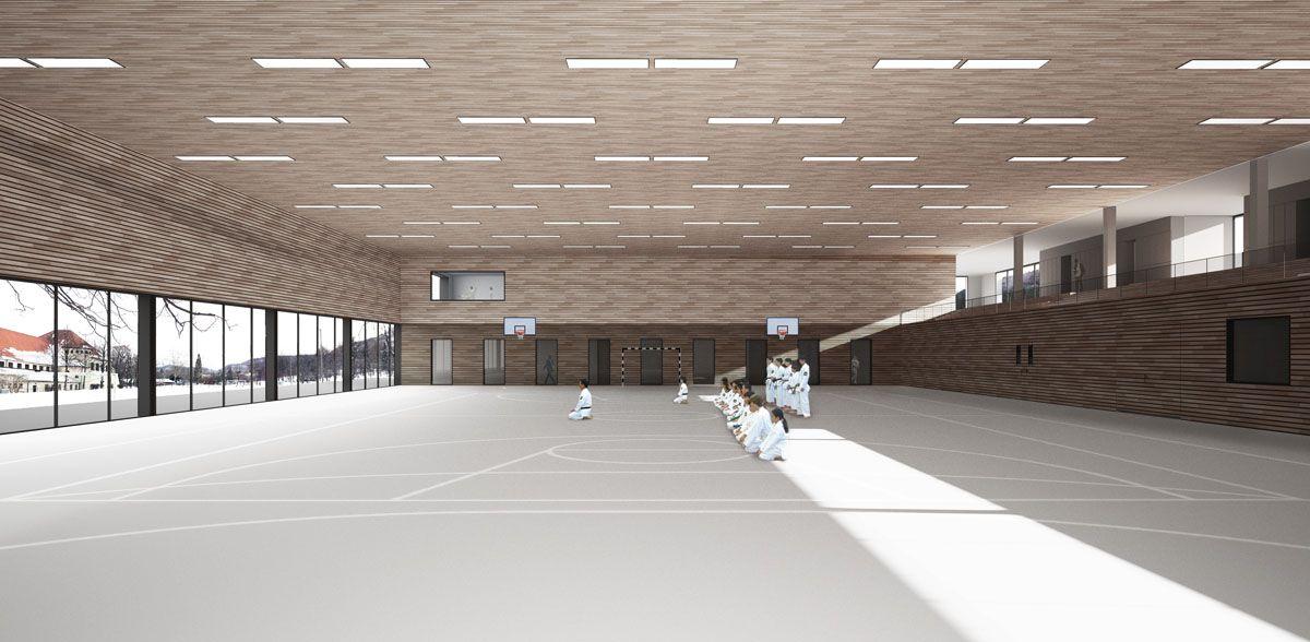 Herbert Hussmann Architekten 3-Feld Sporthalle Pfullingen Perspektive