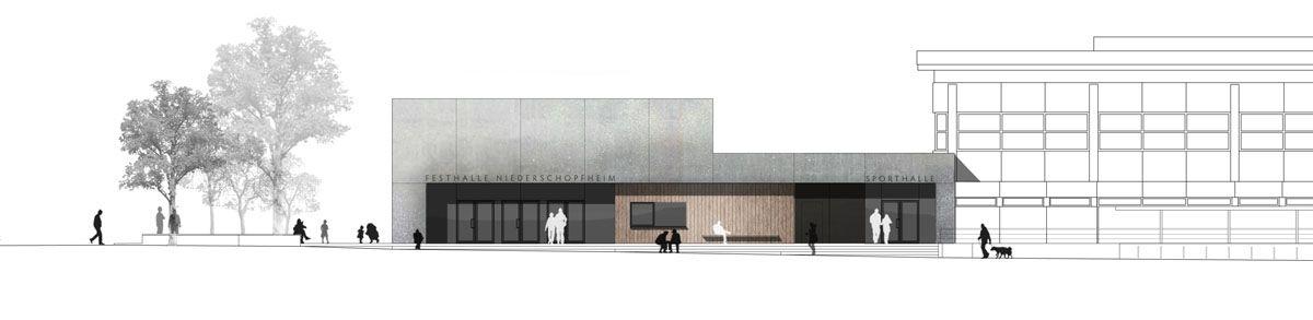 Herbert Hussmann Architekten Mehrzweckhalle Hohberg-Niederschopfheim Ansicht Süd