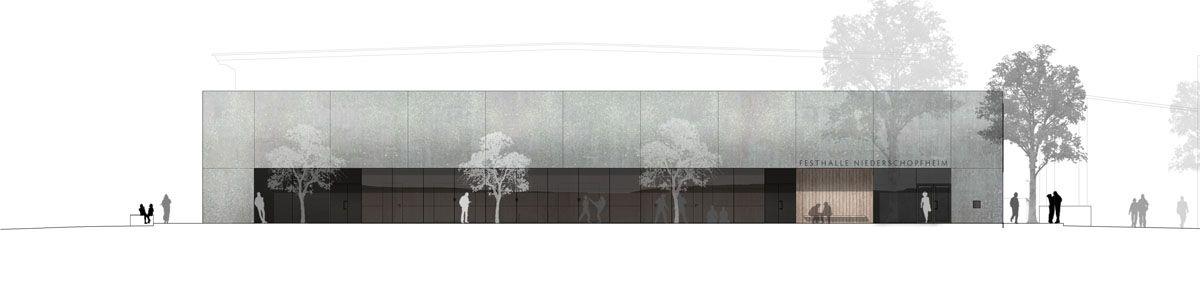 Herbert Hussmann Architekten Mehrzweckhalle Hohberg-Niederschopfheim Ansicht West