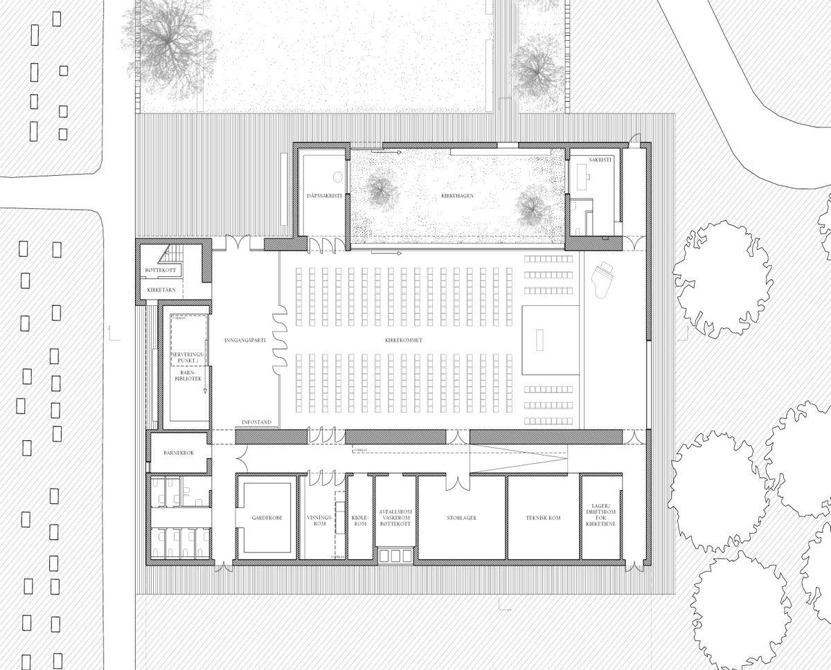 Herbert Hussmann Architekten Ny Valer Kirke Grundriss