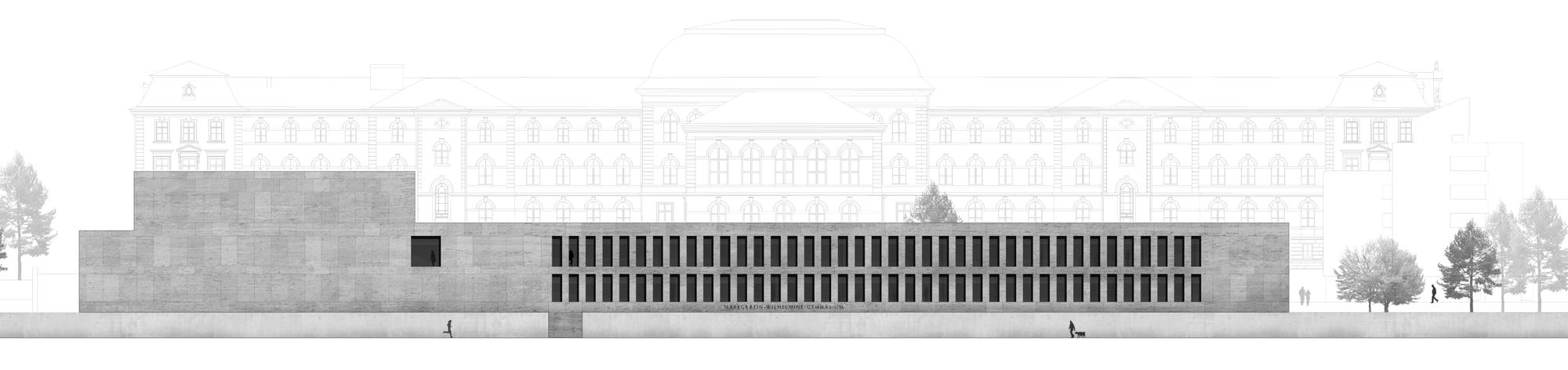 Herbert Hussmann Architekten Erweiterung Markgräfin-Wilhelmine-Gymnasium Schule Ansicht