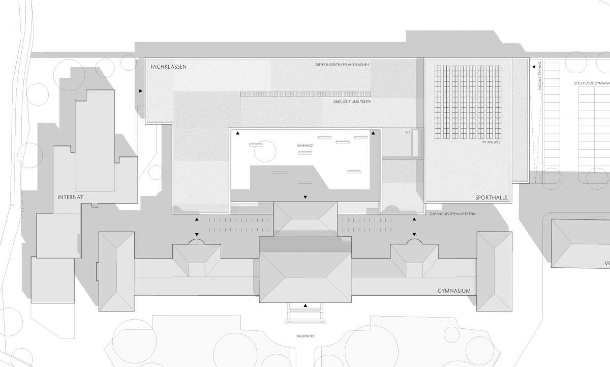Herbert Hussmann Architekten Erweiterung Markgräfin-Wilhelmine-Gymnasium Schule Lageplan
