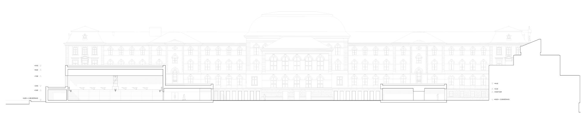 Herbert Hussmann Architekten Erweiterung Markgräfin-Wilhelmine-Gymnasium Schule Schnitt