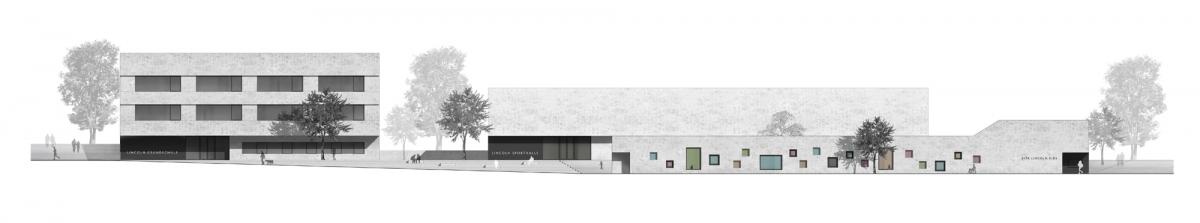 Herbert Hussmann Architekten Quartiersmitte Darmstadt Lincoln Schule Grundschule Kita Sporthalle